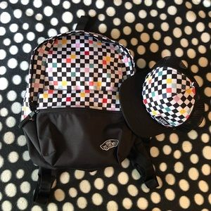 Vans party checker backpack and hat